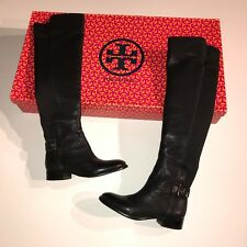Tory Burch Jack Landed Black Leather Stretch Calf Over The Knee Riding Boots 5.5