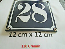 Hausnummer Nr. 28 weisse Zahl auf blauem Hintergrund 12 cm x 12 cm Emaille Neu