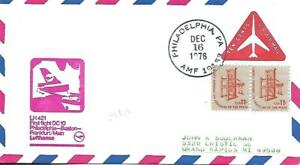 Foreign Flag Airmail Flight Philadelphia-Frankfurt December 16 1976 AAMC#LH-172f