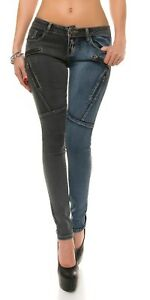 Sexy Koucla Low Rise Black & Blue Zipper Jeans Size 28 Brand New With Tags