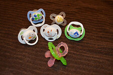 *LOT OF 6- PACIFIERS AND TEETHING RING- AVENT, NUBY- STERILIZED GENTLY USED*