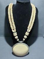 Vintage Bovine Bone Long Chunky bead,cabochon shape pendent  Statement Necklace