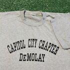 DeMolay T Shirt Mens Small Gray Vintage 80s Capitol City Chapter Masons USA