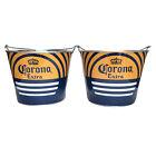 Corona Extra Galvanized Beer Ice Bucket Set of 2 Coolers Blue Yellow Rare NEW