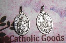 Saint St. Francis + St. Clare - Die Cast Italian Silver tone OX 1 inch Medal
