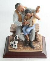Vintage Homco 1987 Masterpiece Porcelain Mizuno Black Man, Boy w/ Banjo Figurine