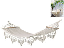 2m x 1m White Hammock with End to End Wooden Rods and Macrame Fringe Weight