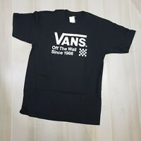 Vans Men's Shirt Large Black Logo Tee Crew Neck Short Sleeve Off The Wall Check