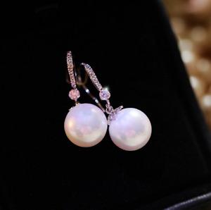 1.2cm Elegant Pearl Drop Earrings CZ Floral White Gold Dangle Hook Ladies Gift