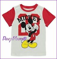 DISNEY TOP TEE SHIRT BOYS - MICKEY MOUSE - SZ 3T 4T RED WHITE NEW