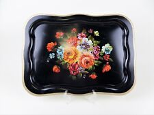 Vintage Large Black Metal TV Serving Tray Tole Painted Flowers Peasant Style