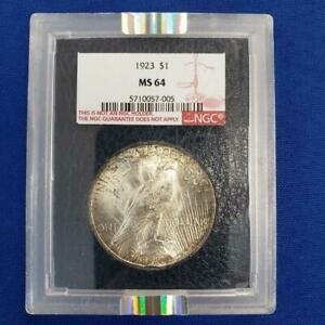 1923 US 90% Silver Peace $1 NGC MS64 Paramount Int Coin Corp black backgroun 458