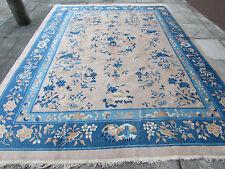 Fatto a mano ANTICO ART DECO Cinese Oriental carpet Blue Beige Lana 360x272cm