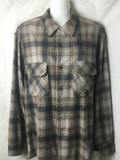 Pendleton Loop Collar Wool Vintage Size L Button Up Shirt Plaid
