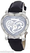 Swiss Master Women's Silver Dial Diamond Heart Black Leather Stap Watch