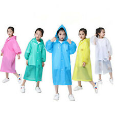 Kids Raincoat Unisex Transparent Waterproof Plastic Reusable Rain Poncho