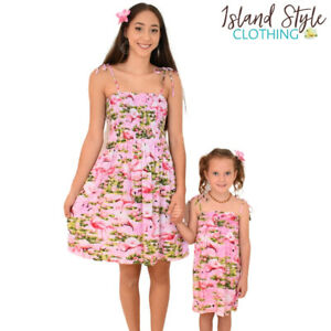 Mother Daughter Pink Flamingo Matching Tube Dresses