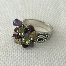 DOUG PAULUS  DP 925 STERLING SILVER MULTI STONE NUGGET RING SIZE 10