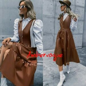 Zara Brown Ruffled Maxi Faux Leather Dress Size  M 10 Influencer Fave.