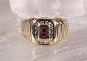 Men's Ruby & Diamond Ring 14K Yellow Gold Size 9.5