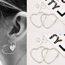 Earrings Hip-Hop Silver Dangle Ear Studs New Women 2Pairs Heart Jewelry Big Hoop