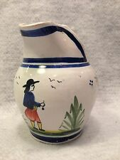 HB Quimper France Faience Pottery Creamer Pitcher Breton MAN-3 dots