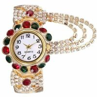 Quartz Wrist Watch Luminous Rhinestone Women's Luxury Wristwatch Bangle Bracelet