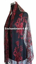 Elegant Oblong Lace Floral Art Scarf Wrap w/ Sequin Black/Red