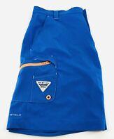 Columbia PFG Men's Size 32W 10L Performance Fishing Gear Shorts Blue Omni Shield