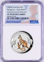 2020 FIRST Colored HIGH RELIEF 1oz Silver Kangaroo $1 Coin NGC PF70 ER