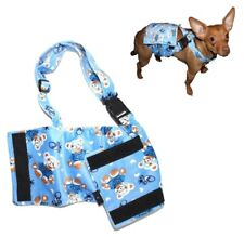 Dog Diaper Male BELLY BAND Reusable Washable Stay On SUSPENDERS Fleece Blue BEAR