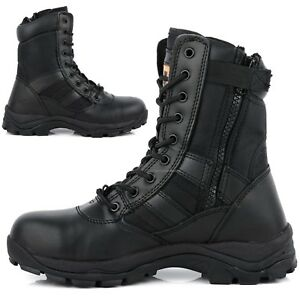 Mens Leather Non Safety Military Combat Police Army Zip Up Work Shoes Boots Size