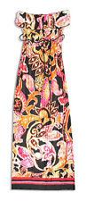 NWT HeartSoul $68 Long Strapless Multicolor Jersey TieDie-Look Dress w/Ruffle-L*