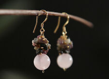 B12 Gold Plated Earrings Ball Pink Rose Quartz With Grapes From Tourmaline