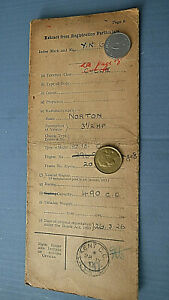 OLD BUFF LOGBOOK RF60 from a 1926 Norton 3 1/2hp 490cc motorcycle