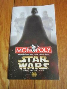 Star Wars Monopoly Trilogy Edition Replacement INSTRUCTIONS BOOK Rules ONLY 1997