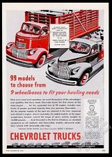 1947 Chevrolet pickup truck and stake bed heavy duty truck vintage print ad