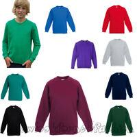 Kids Boys Girls Children Plain Sweatshirt Pull Over Jumper School Uniform Top