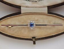 Fine Antique Edwardian 18ct Gold Sapphire & Diamond Brooch c1910 in Fitted Case