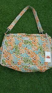 "Diaper Bag by Raa Kha  Orange, Green, Blue, & Cream 15"" x 13"" x 5"" with BLING!"