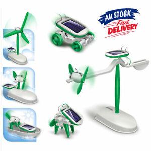 6 in 1 DIY Educational Toy Car Fan Toys Solar Powered 3D Model Boat Robot Kit