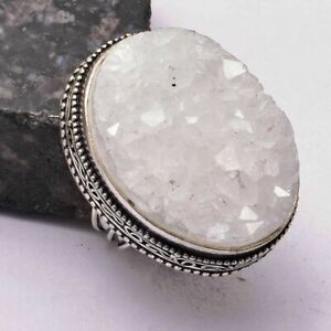 White Suger Druzy Ethnic Handmade Antique Desgin Ring Jewelry US Size-7 AR 30966