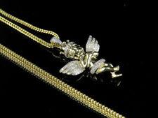 "10k Yellow Gold Diamond Crowned Cherub Pendant 1.25"" .40ct and Franco Chain 1mm"