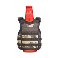 Military Tactical Mini Vest Soda Beer Bottle Coozie Coolie Koozie - Acu