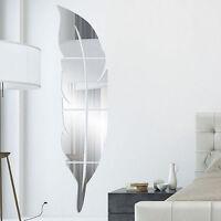3D Spiegel Feder Wandaufkleber Wandtattoo Wandsticker Abnehmbare Zimmer DIY Deko