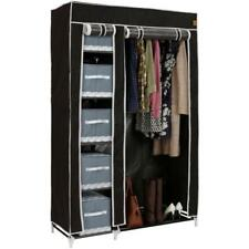 Black Double Canvas Wardrobe Cupboard Home Clothes Hanging Rail Storage Shelves
