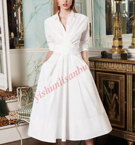 White Luxury Women's Long Slim Fit Shirts Polo Collar Dress Party Occident Gown