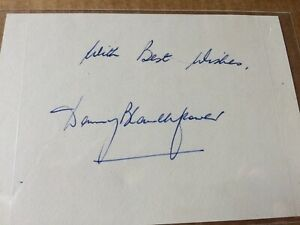 Danny Blanchflower Signed paper - Player/Manager Northern Ireland & Spurs