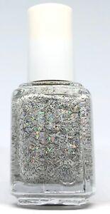 Bottles Essie Nail Polish PEAK OF CHIC 3022 White Feather w Silver Glitter