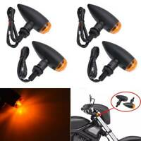 4X Black Metal Motorcycle Motorbike Turn Signal Lights Indicator Universal 10mm